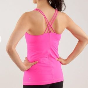 Lululemon Free to Be Strappy Neon Pink Yoga Tank